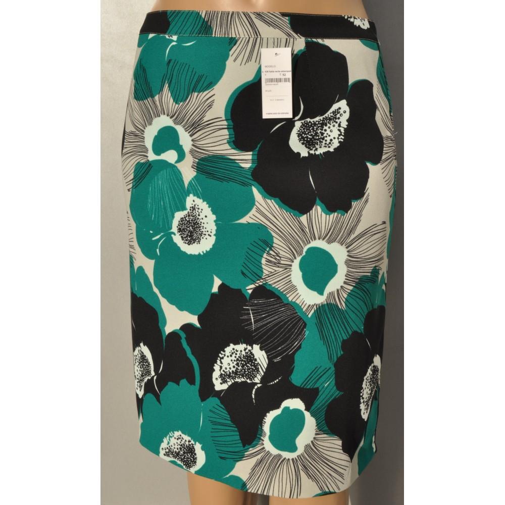 1533d30f61 falda recta estampada - Vachi tallas grandes