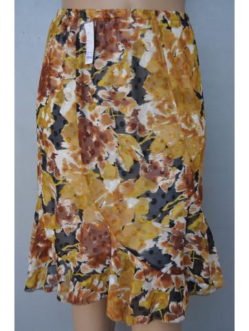 falda estampada 5 quillas con goma en la cintura tejido georgette