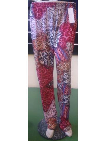 pantalon estampado con goma en la cintura y bolsillos modelo señora